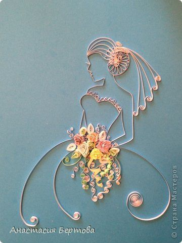 *QUILLING ~ Painting mural drawing Quilling Paper Bride band photo 1