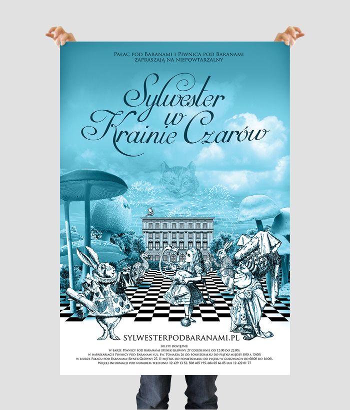 Plakat zapraszający na bal sylwestrowy w Pałacu pod Baranami  zrealizowany dla agencji reklamowej Wasistdas