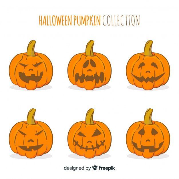 Lovely hand drawn halloween pumpkin collection. vector