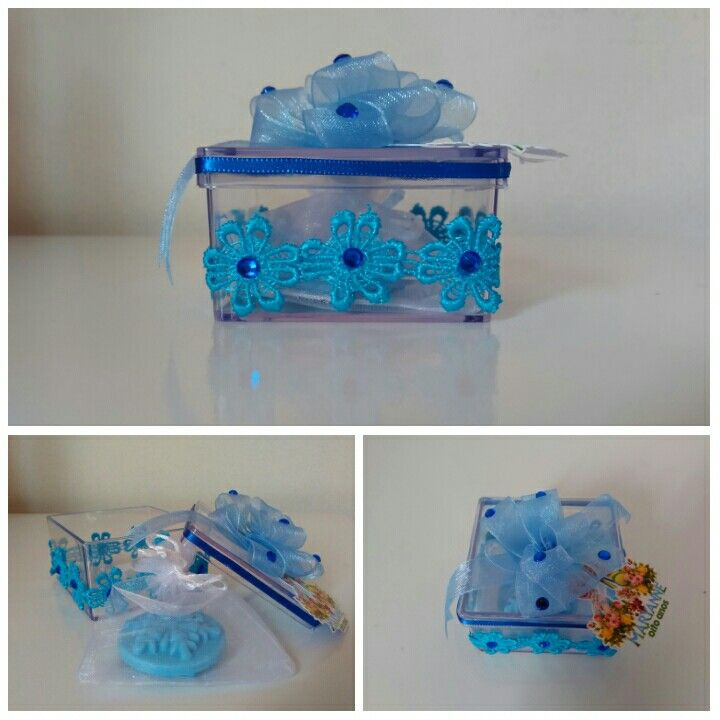 Caixinha em acrílico com sachê de sabonete em formato de cristal de gelo...
