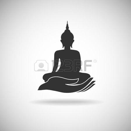 Image De Bouddha Sur La Silhouette De La Main Clip Art Libres De Droits , Vecteurs Et Illustration. Pic 27453188.