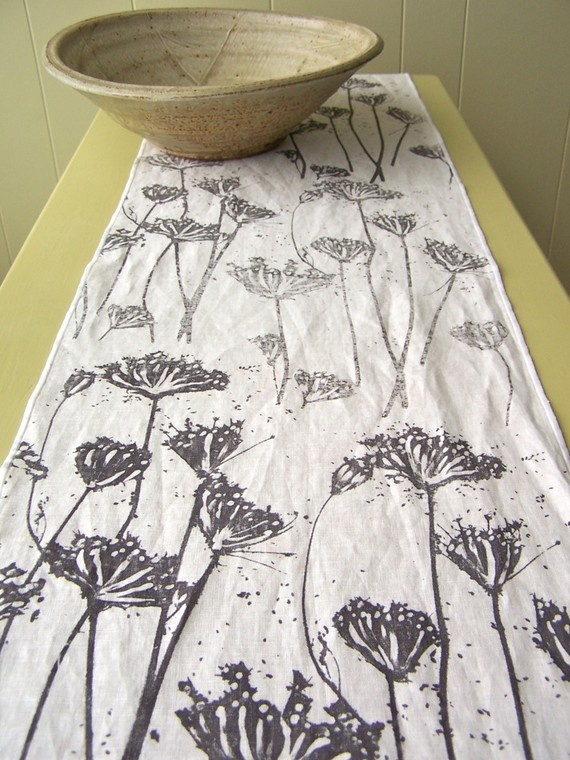 Hand printed linen runner. Lovely work
