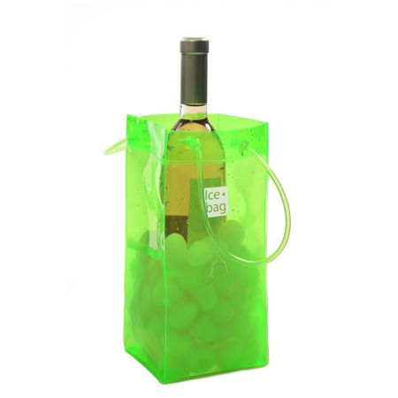 4205 Icebag Basic Acid Green Product Description  Made from durable PVC plastic, the Ice Bag® is water tight, light weight, flexible and folds flat for easy storage. Small and easy to carry – saves table space and goes anywhere with your bottle Original, trendy and suitable for every occasion all year Economical – it chills faster than a traditional ice bucket Retail Packaging Colour: Acid Green
