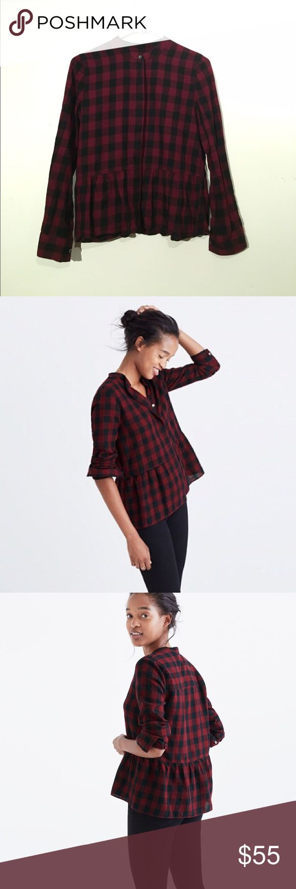 lakeside peplum shirt in buffalo check One time wear -Equal parts tomboy and lady, this gauzy button-down has a low-key peplum thing happening. Work, weekend—this buffalo-check shirt can do it all.  True to size. Cotton. Machine wash Madewell Tops Button Down Shirts