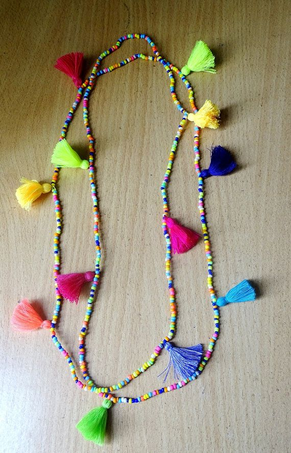 Summer Boho multi tasselled long Necklace/ seed bead & Tassel Necklace / Multi coloured necklace/52""