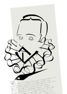 Precioso retrato tipográfico de Miguel de Cervantes