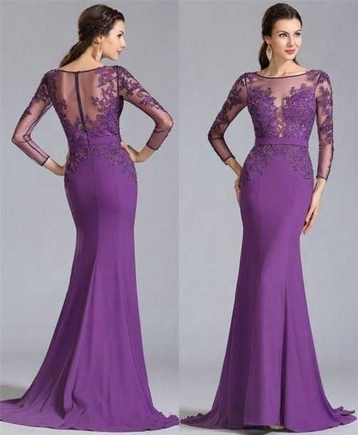 Mother Of The Bride Dresses Purple Long Illusion Sleeves Sheer Neck Lace Mother Of The Groom Gowns Mermaid Elastic Satin Long