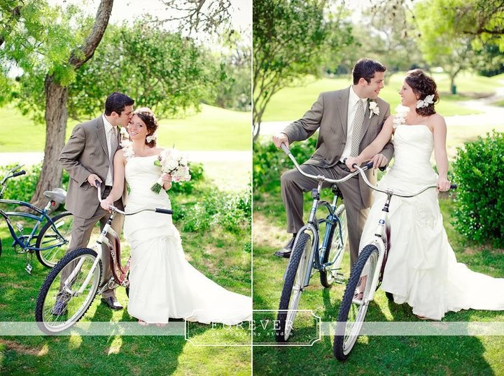 How cute is this couple?? A bridal photoshoot on our resort's bicycle trail. How cute! Photo taken at the Hyatt Regency Hill Country Resort in San Antonio.: Bike Photoshoot, Engagement Photo, Cute Photo, Weddings Party Idea, Engagement Shooting,  Bridegroom, Photo Shooting, Classic Bike, Bridal Photoshoot