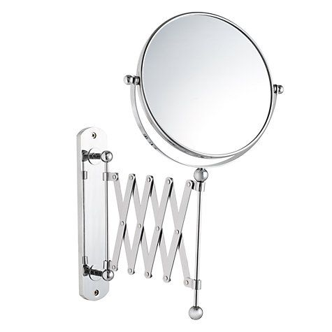 John Lewis Bathroom Extendable Magnifying wall mirror £49 Product code :84910407 Dimensions H41.5 x W22.5 x D5cm Chrome