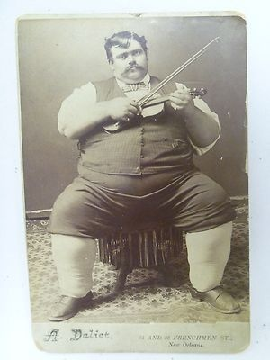 ANTIQUE CABINET CARD PHOTO LARGE HEAVY FAT MAN WITH VIOLIN A DALIET NEW ORLEANS