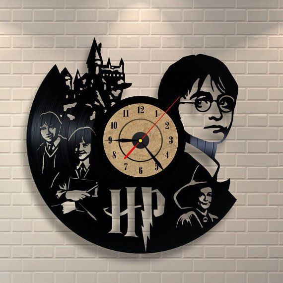 Harry Potter art vinyl wall record clock by Vinylastico on Etsy