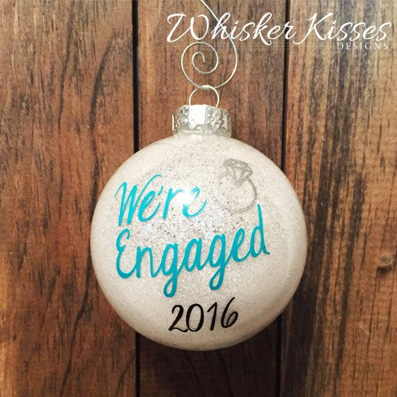 Engagement Christmas Ornament, Personalized Engagement Gift, Wedding Ornament with Glitter