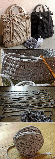 Вязаные сумки и как сделать пряжу из футболки.
