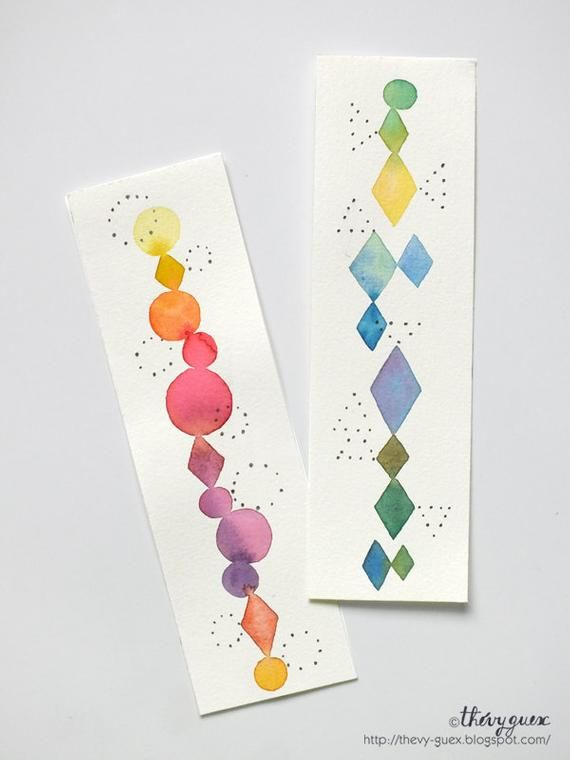 Rainbow Watercolor Bookmarks Original Painting Haindpainted