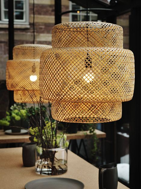 Ilse Crawford Sinnerlig 2015 collection for Ikea. A set of bamboo-lattice pendant lights concertina