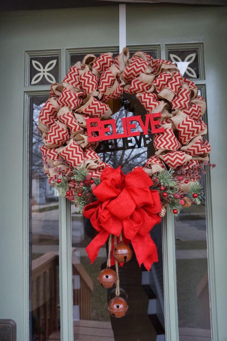 A Card A Day...Christmas Burlap Wreath