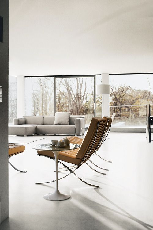 Barcelona chairs | contemporary sofa in soft greys and neutral living room