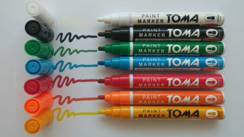paint marker, oil-based, perfect marks on steel, rubber, wood, plastic, stones, cardboard, glass..... anywhere you want