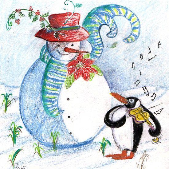 SNOWMAN AND PENGUIN'S WINTER SERENADE christmas Collection by Bulgan Lumini (c)  #violin #violinist #winter #snowman #snow #music #funny