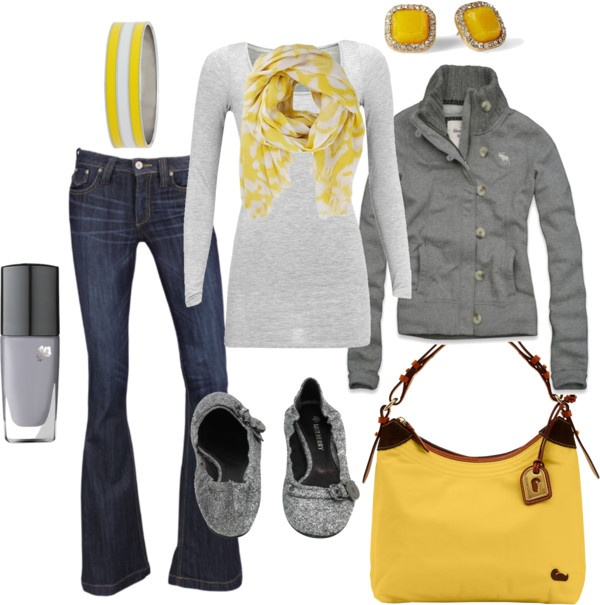 """""""gray and yellow"""" by ohsnapitsalycia on Polyvore"""