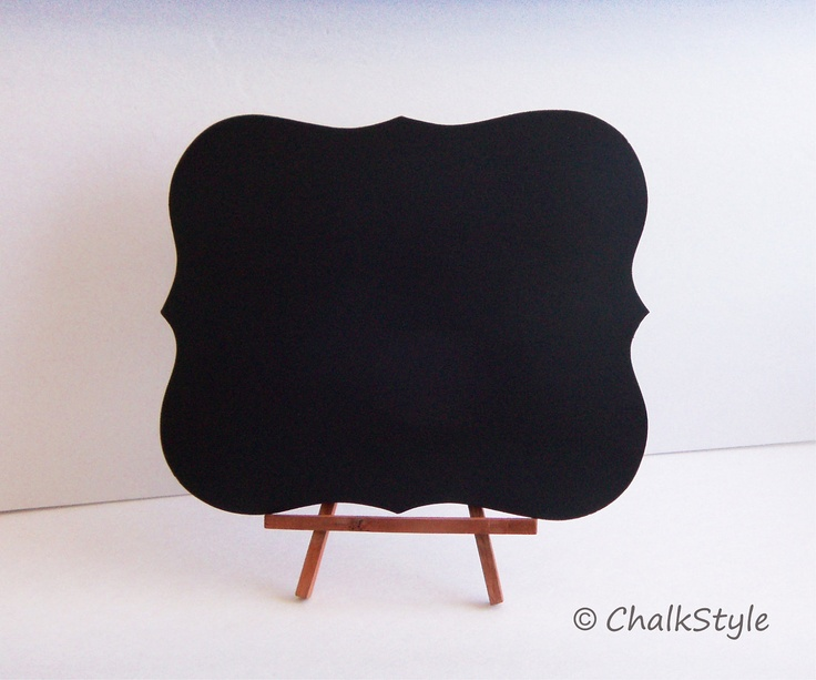 Chalkboard WITH STAND Rectangular Scroll Sturdy Wooden Chalk Board  Wedding Menu Sign Photo Prop Table Centerpiece Easel Included. $14.00, via Etsy.