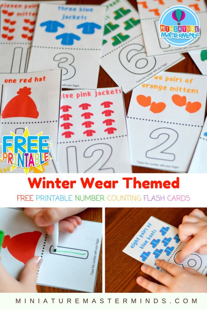Preschool Winter Wear Themed Free Printable Number Counting Flash Cards Cold weather is firmly taking hold of our area ! Snow is even inthe prediction for this weekend! I have been working on acti…