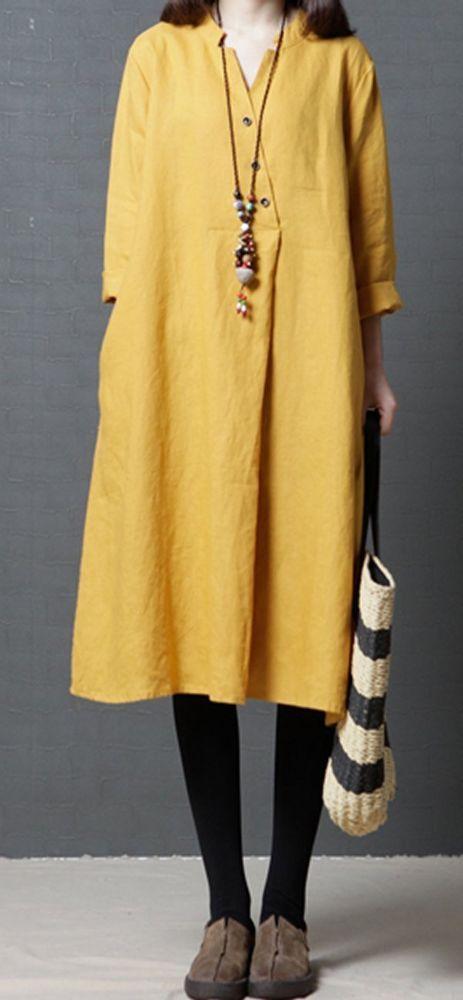 Women loose fit plus over size pocket dress maxi yellow tunic robe fashion chic …