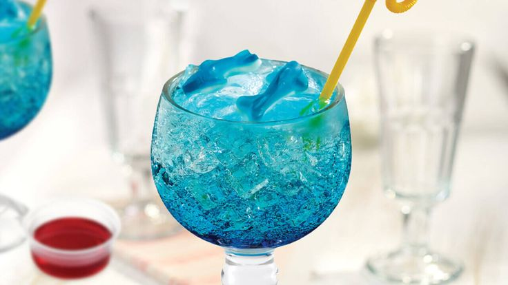 Sharks in the Water - Friendly's: Dive into this drink as gummy sharks circle in a pool of blue raspberry Sprite® with a side of shark bait (red syrup)