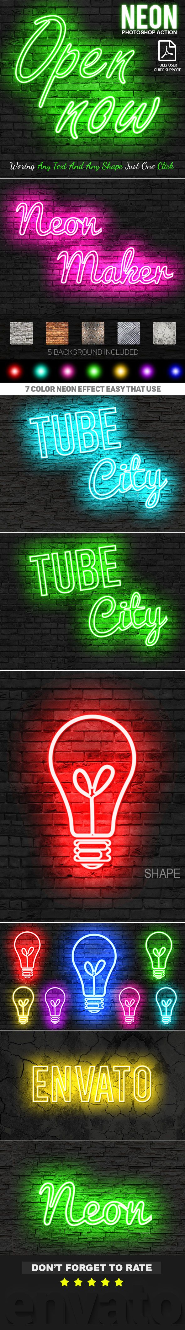 Neon Photoshop Action - Text Effects Actions
