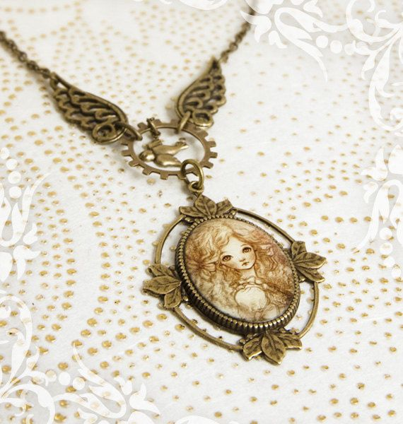 Angelic Wings . Steampunk Necklace