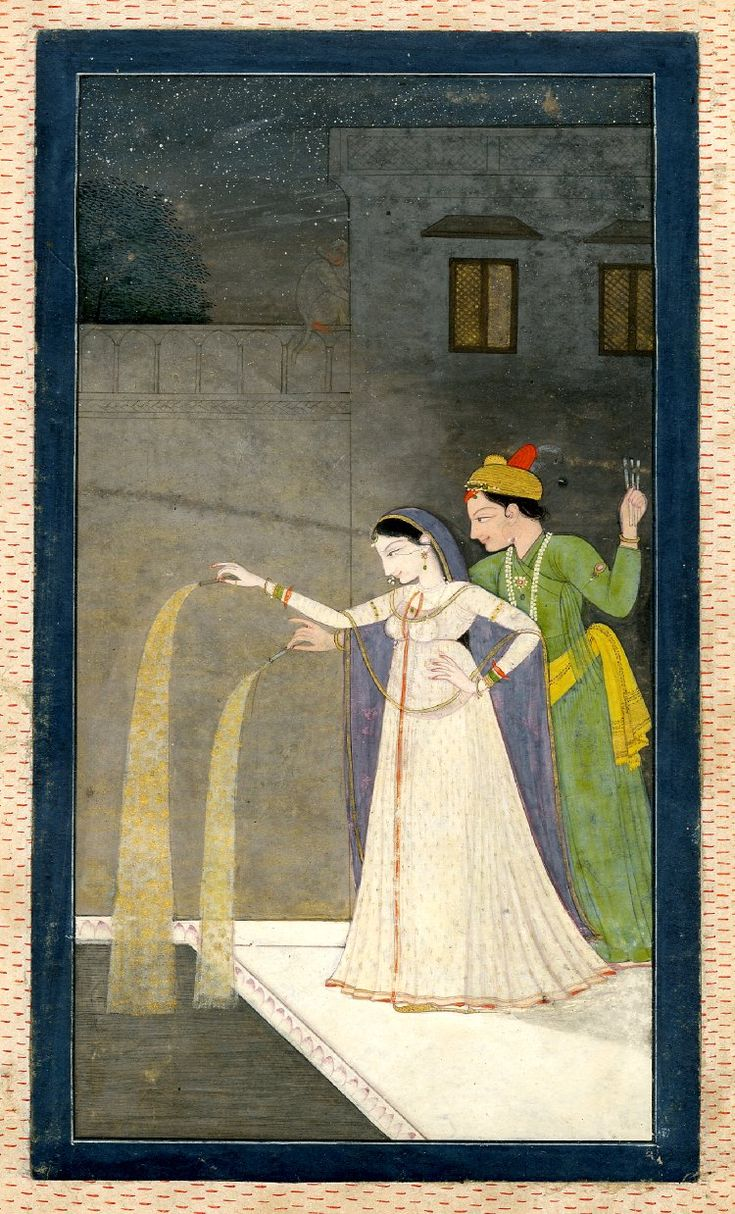 Lovers Playing With Fireworks, c 1800.  Pahari School ; Rajasthan School ; Kangra Style   Painted in: Panjab Hills ; (Asia,Himalayas,Punjab Hills)  Found/Acquired: India; (Asia,South Asia,India)