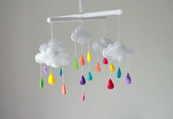 Rainbow Cloud Baby Mobile - Crib Mobile - Rain Drop Baby Mobile