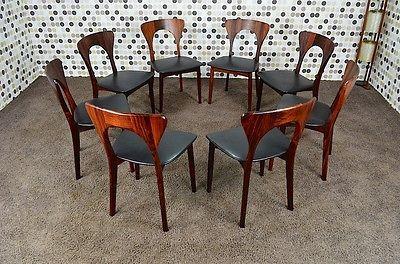 8 chaises danoise en palissandre vintage 1965 designer niels koefoeds diteur koefoeds. Black Bedroom Furniture Sets. Home Design Ideas