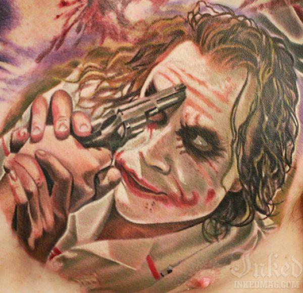 Heath Ledger as the Joker by Casey Anderson #InkedMagazine #joker #villain #tattoo #tattoos #Inked #ink