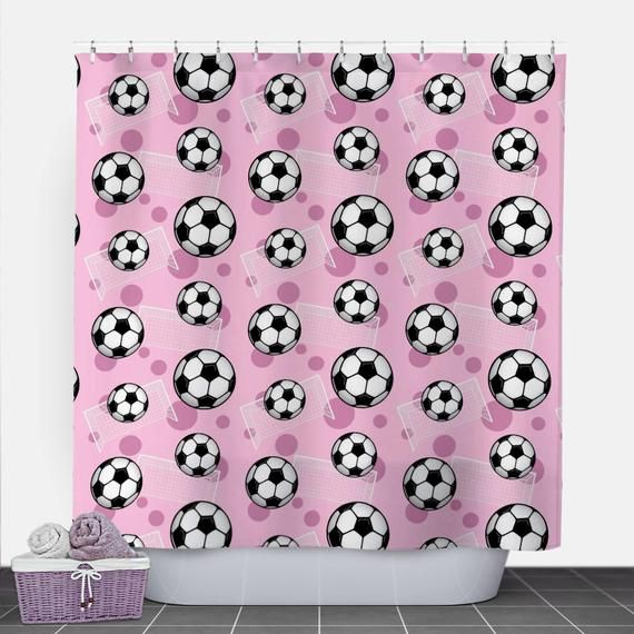 Pink Soccer Shower Curtain Soccer Ball And Goal Pattern On Pink