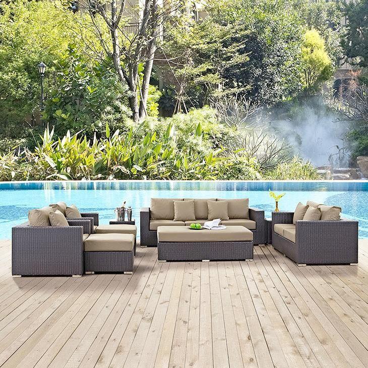 Convene Lounge Set - Dark grey wicker with beige cushion