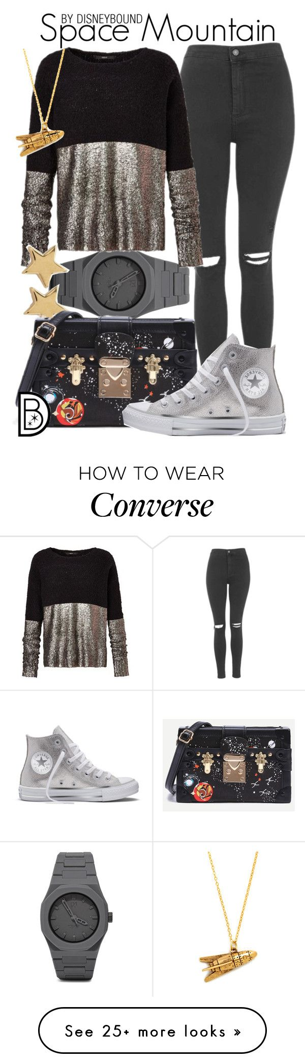 """Space Mountain"" by leslieakay on Polyvore featuring CC, Missoma, Topshop, Converse, disney, disneybound and disneycharacter"