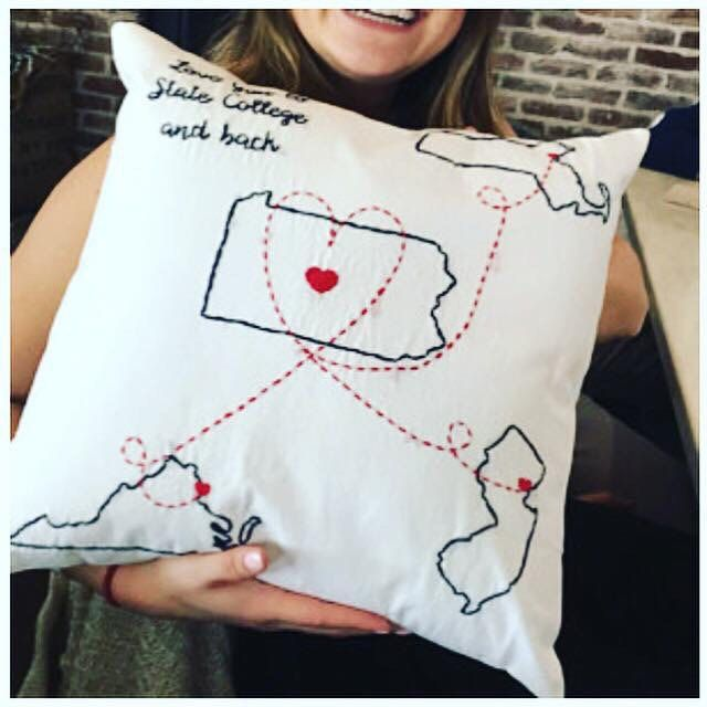 Graduation season is ending, and back-to-school season will be quickly approaching! Send your grad off to college with a special long distance pillow! #longdistance #collegedormdecor #collegestudentgift #bestfriendgift #graduationgift #highschoolgrad