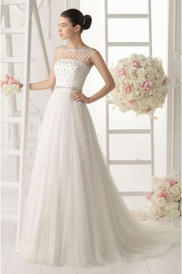 Elegant Jewel Tulle Bridal Wedding Dresses