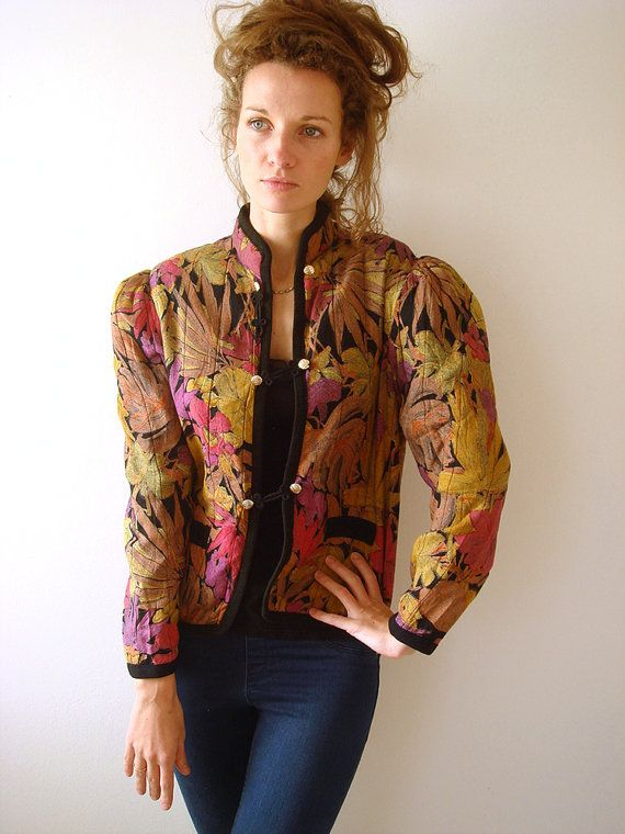 Floral steampunk jacket, women 80s vintage jacket by GrandpasParty - Steampunk Steampunk Clothing - Smoked Glass Goggles