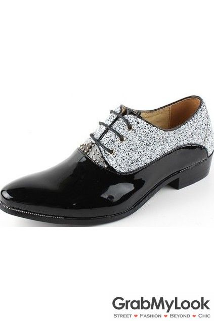 GrabMyLook Glitter Sparkling Bling Bling Lace Up Point Head Black Mens Oxford Shoes