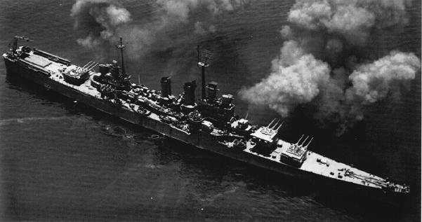 USS Wichita CA-45 firing her 8in rifles.