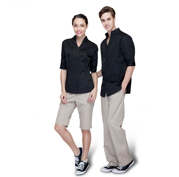 Unisex Half Sleeve Hotel Staff Uniform Design Restaurant Waiter Uniform Hotel Uniforms for Waiters Waitress Shirt WS615