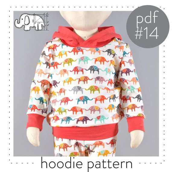 Hoodie sewing pattern pdf, photo tutorial, 0-3M to 2-3T, easy instructions and photos -Pattern 14
