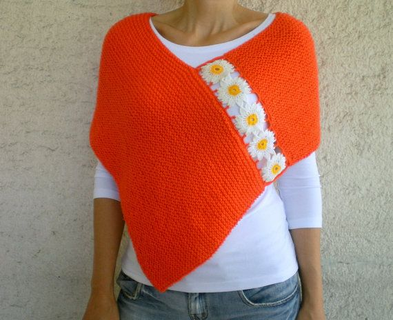 Knit Orange Poncho with Daisy Motifs  Floral Shawl by bysweetmom, $72.00