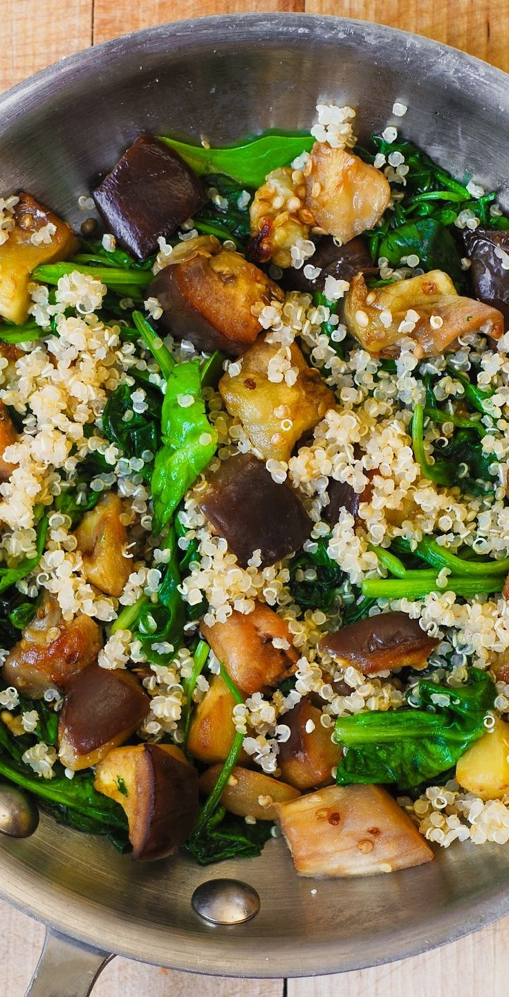 Roasted Eggplant with Spinach, Quinoa, and Feta. Healthy comfort food - vegetarian, gluten-free, paleo, low calorie, low carb and low cholesterol, high in fiber and protein (from quinoa) #gf #recipe
