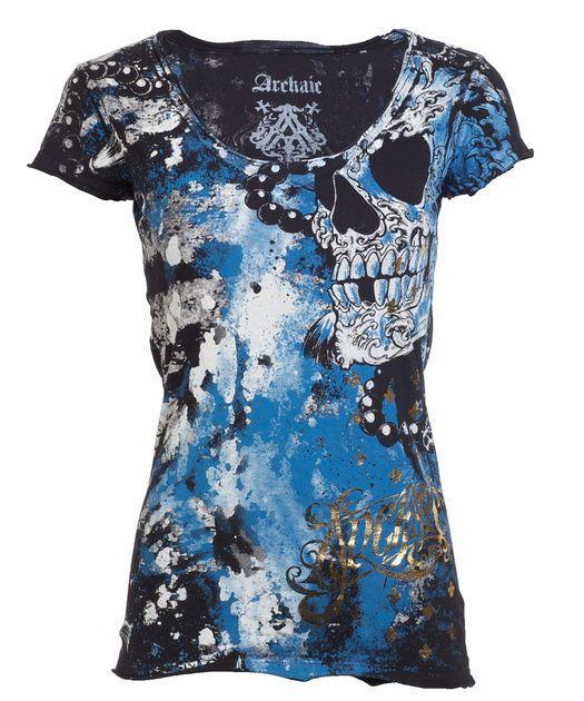 Archaic AFFLICTION Womens T-Shirt HYDRATE Skulls Tattoo Biker Sinful S-XL $40 a #Affliction #GraphicTee