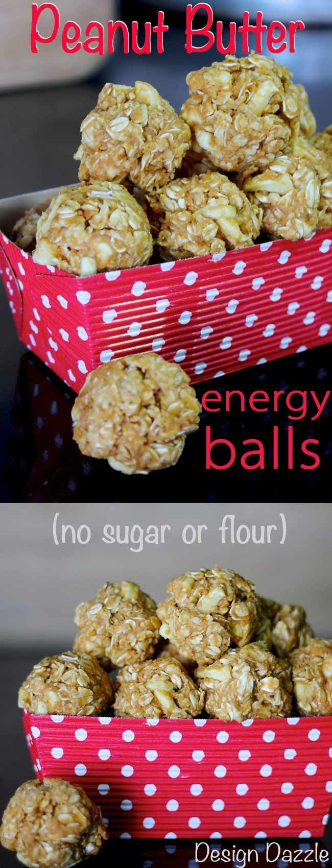 Peanut Butter Oatmeal Energy Balls are quite delicious. They are quick to make! The recipe has no flour or sugar. Perfect for healthy snacks on the go. Design Dazzle