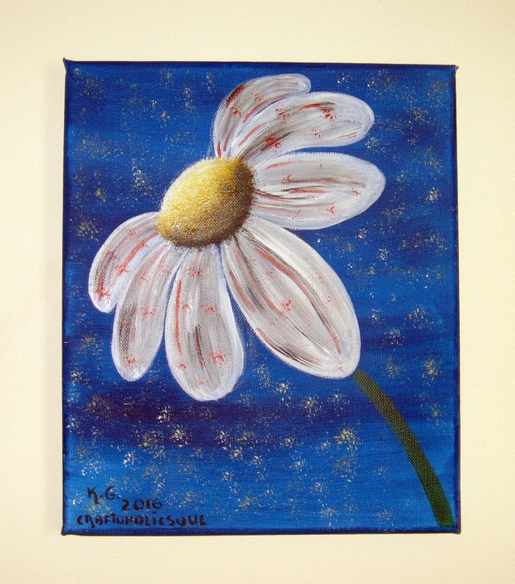 Original acrylic painting. White daisy. Abstract. by craftoholicsoul on Etsy