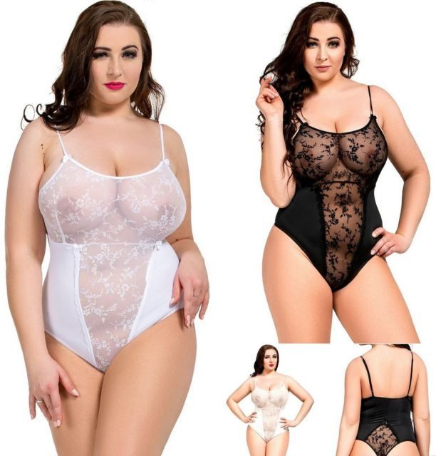 33cf07ca371 Nine X Body See Through Sheer Lace Body Suit S-8XL Plus Size Babydoll  Lingerie